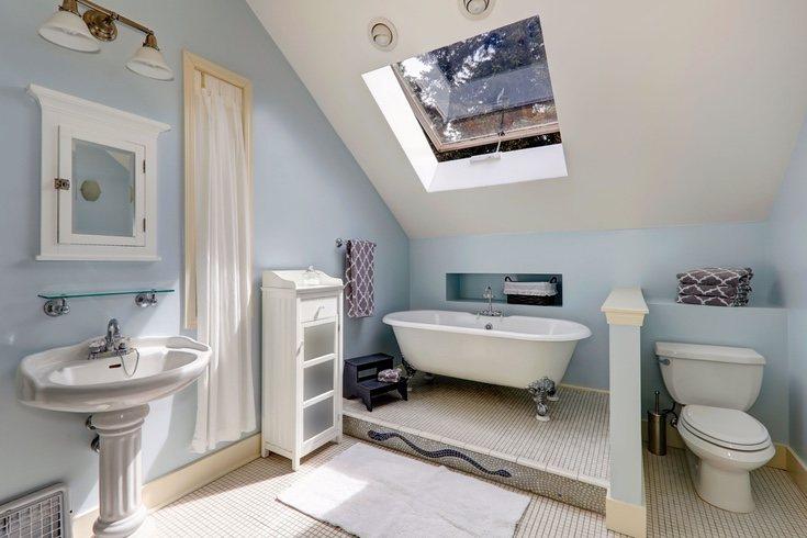 Utilizar el azul para las paredes en los baños es lo más común