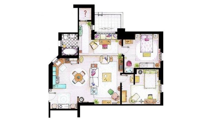 Plano de la casa de Monica Geller / Iñaki Aliste