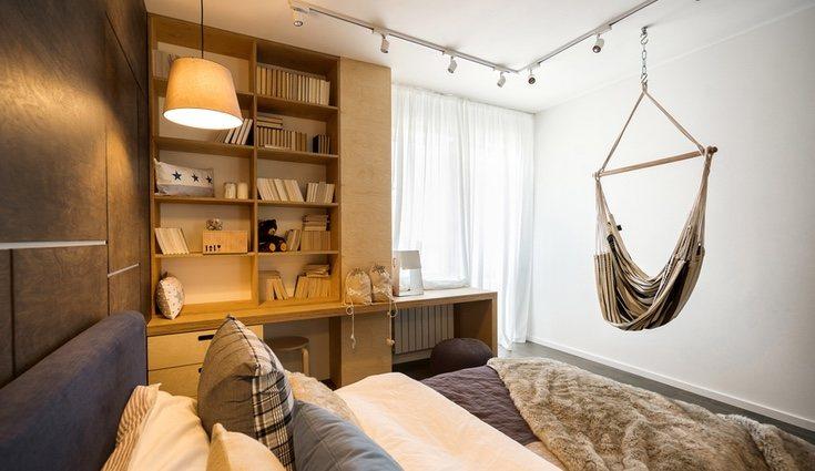 El dormitorio también es una buena opción para colgar una hamaca