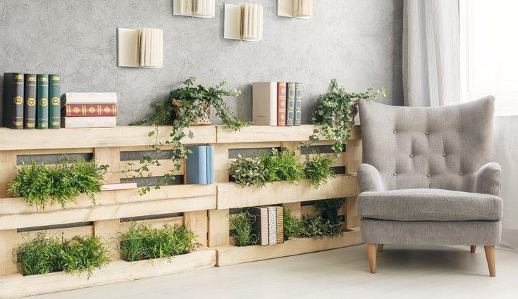 Puedes crear una estantería horizontal para colgarla en la pared o apoyarla en el suelo